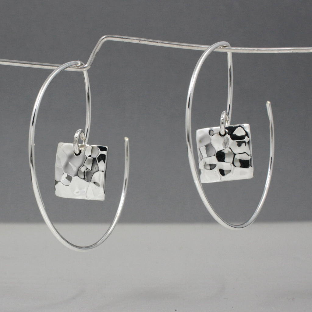 "These Small Square Sterling Silver Earrings Measure 10 Millimeters Long By 10 Millimeters Wide. (3/8"" Long By 3/8"" Wide)
