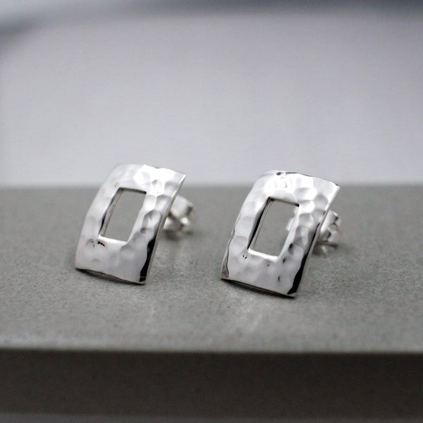 Small Off-Center Rectangle Earrings - Hammered Silver - Stud Earrings