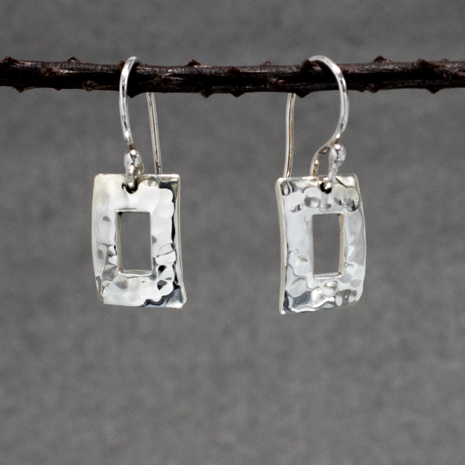 Small Off-Center Rectangle Sterling Silver French Wire Earrings | Hammered Finish