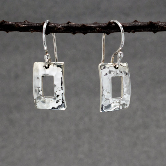 Small Off-Center Rectangle Silver Earrings | Hammered Sterling Silver | Jewelry | Silver | Wholesale | French Wire Sterling Silver | Jewelry | Silver | Wholesale Earrings