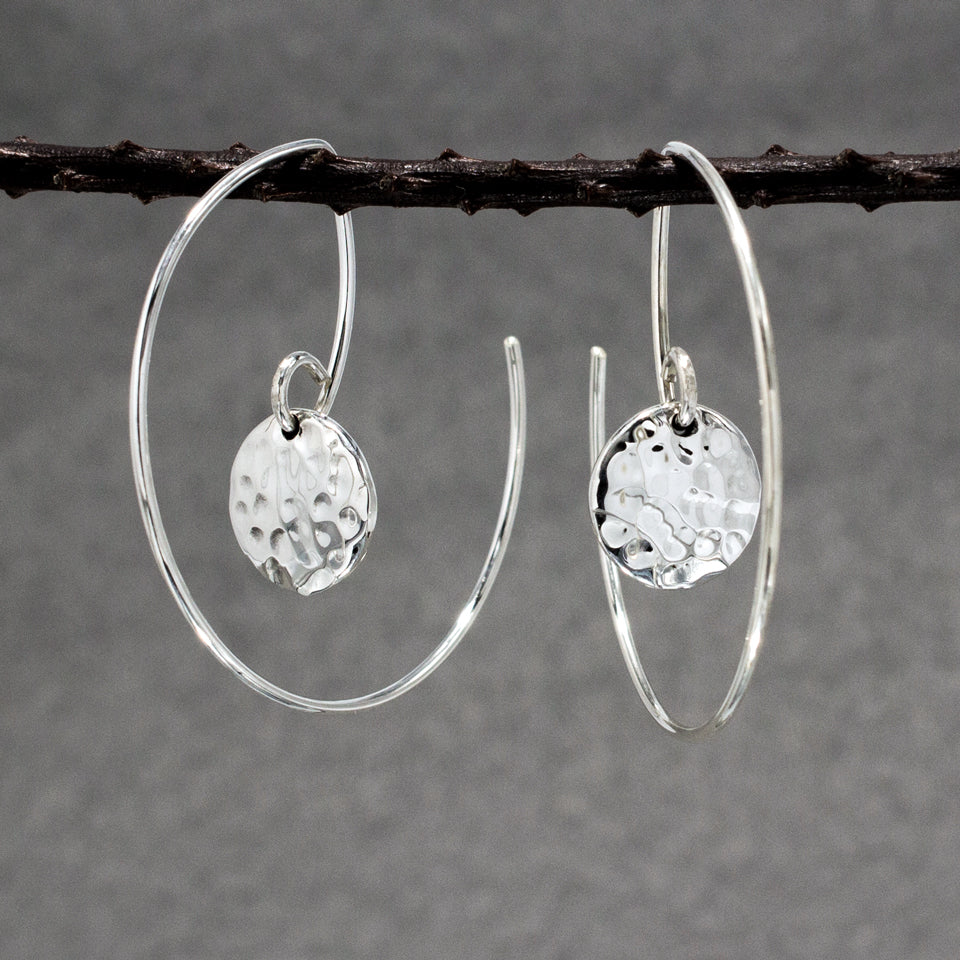 Small Disc Within Hoop Sterling Silver Reverse Earrings | Hammered Finish