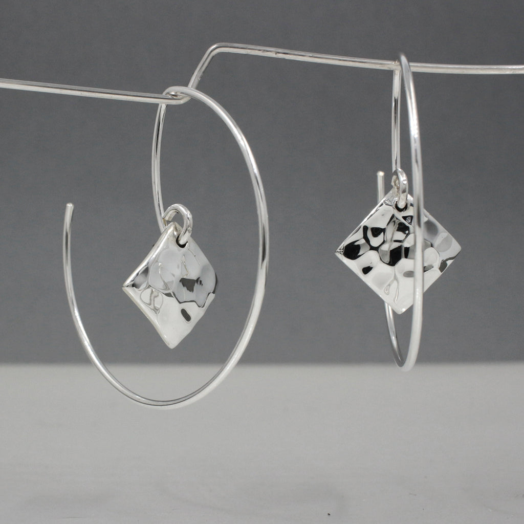 "These Small Rhombus Sterling Silver Earrings Measure 10 Millimeters Long By 10 Millimeters Wide. (3/8"" Long By 3/8"" Wide)