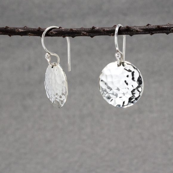 Disc Silver Earrings | Hammered Sterling Silver | Jewelry | Silver | Wholesale | French Wire Sterling Silver | Jewelry | Silver | Wholesale Earrings