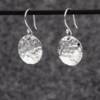 Disc Sterling Silver Earrings With Hammered Silver Finish | Silver earrings, silver dangle earrings, hammered silver earrings, oxidized silver earrings, brushed silver earrings, silver jewelry, inpiranza, silpada jewelry, wholesale silver jewelry