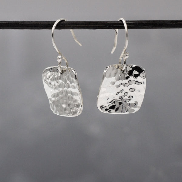 Lucilla Square Silver Earrings | Wave/Hammered Silver Earrings | French Wire Silver Earrings