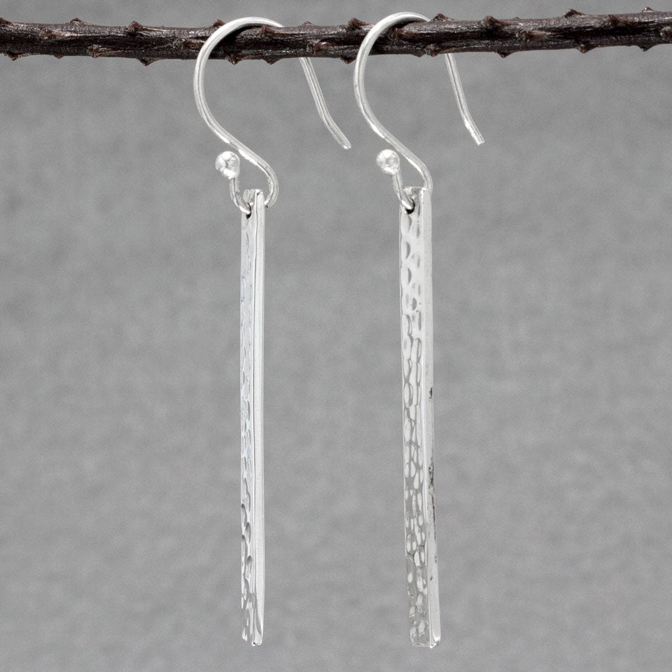 Slab Sterling Silver French Wire Earrings | Hammered Finish