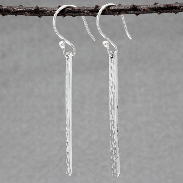 Slab Sterling Silver Earrings With Hammered Finish | Silver Jewelry | Wholesale Silver Jewelry | French Wire Silver Earrings