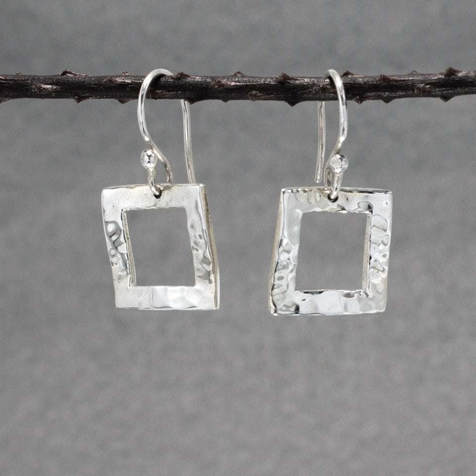 Rippled Inner Square Sterling Silver French Wire Earrings | Hammered Finish
