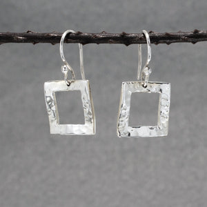 Rippled Inner Square Silver Earrings | Hammered Sterling Silver | Jewelry | Silver | Wholesale | French Wire Sterling Silver | Jewelry | Silver | Wholesale Earrings