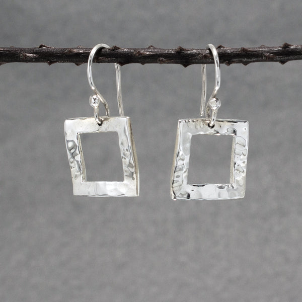 Rippled Inner Square Sterling Silver Earrings With Hammered Finish | Silver Jewelry | Wholesale Silver Jewelry | French Wire Silver Earrings