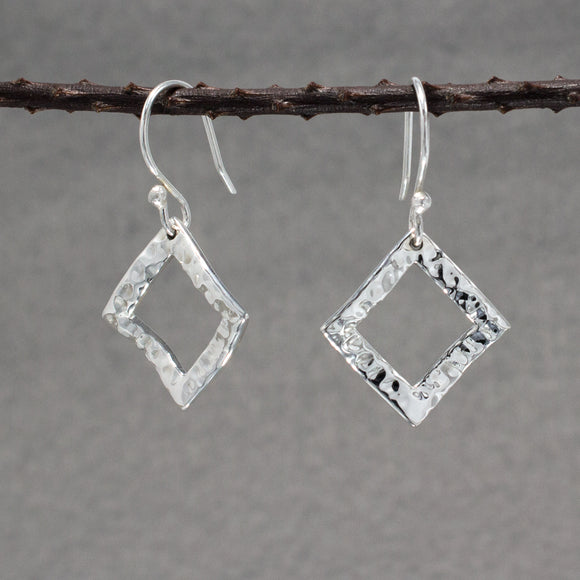 Rippled Inner Rhombus Silver Earrings | Hammered Sterling Silver | Jewelry | Silver | Wholesale | French Wire Sterling Silver | Jewelry | Silver | Wholesale Earrings
