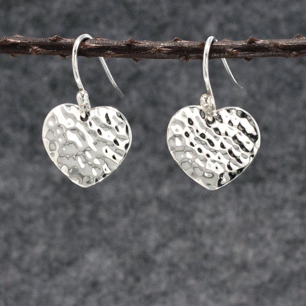 Miller Heart Sterling Silver French Wire Earrings | Hammered Finish