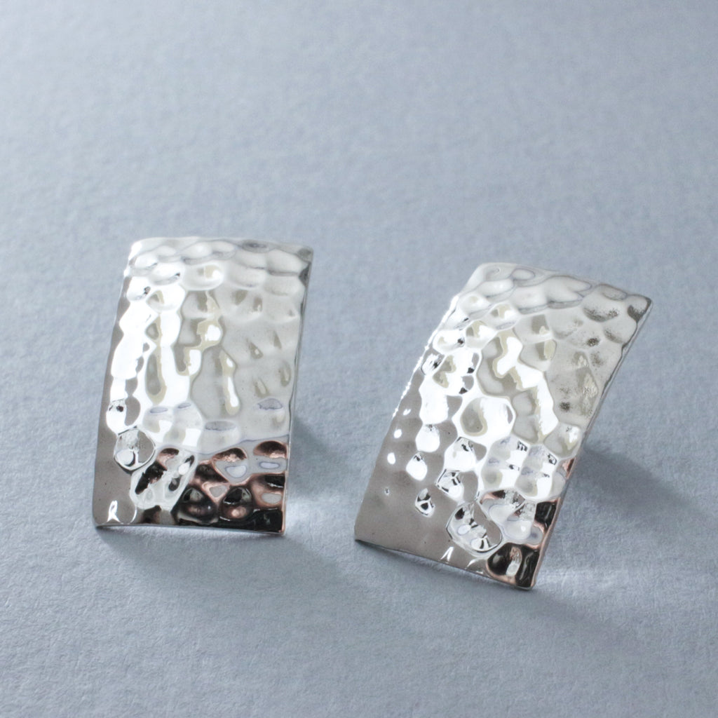 "These Artemis Rectangle  Sterling Silver Earrings Measure 23 Millimeters Long By 13 Millimeters Wide (7/8"" Long By 1/2"" Wide). Sterling Silver Friction Post. Made Using .950 Sterling Silver With Hammered Sterling Silver Finish."