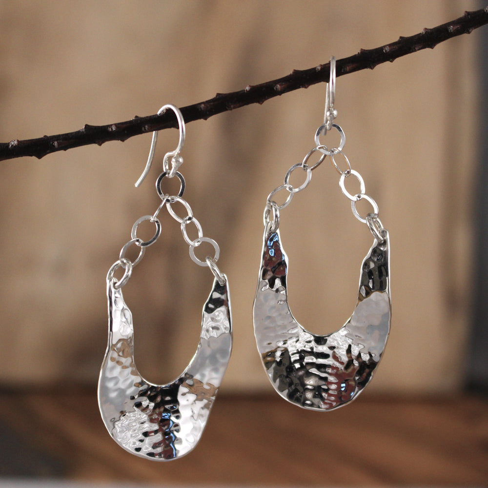 Lola Sterling Silver French Wire Earrings | Hammered Finish