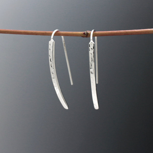 Small WaterFall Earrings - Hammered Silver - French Wire