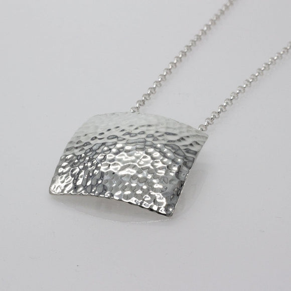 Large Convex Square Silver Jewelry Pendant | Hammered Sterling Silver Jewelry | Sterling Silver Jewelry Chain Included