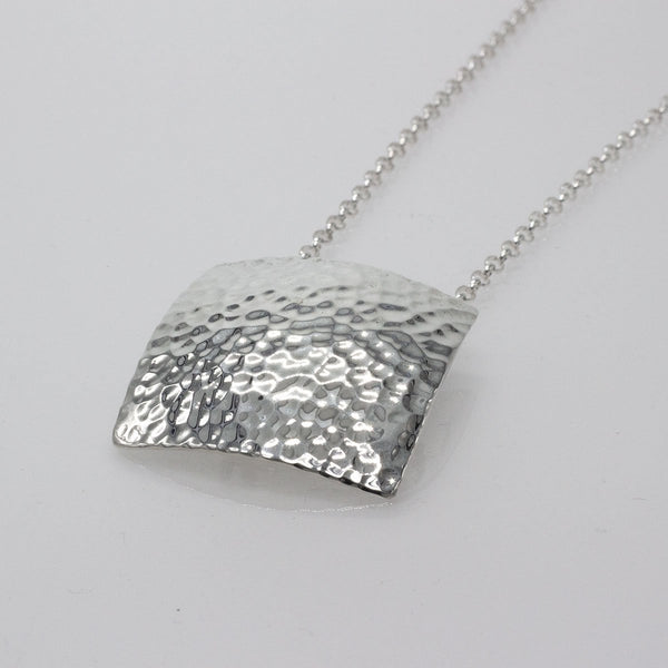 Large Convex Square Silver Pendant | Hammered Sterling Silver | Sterling Silver Chain Included