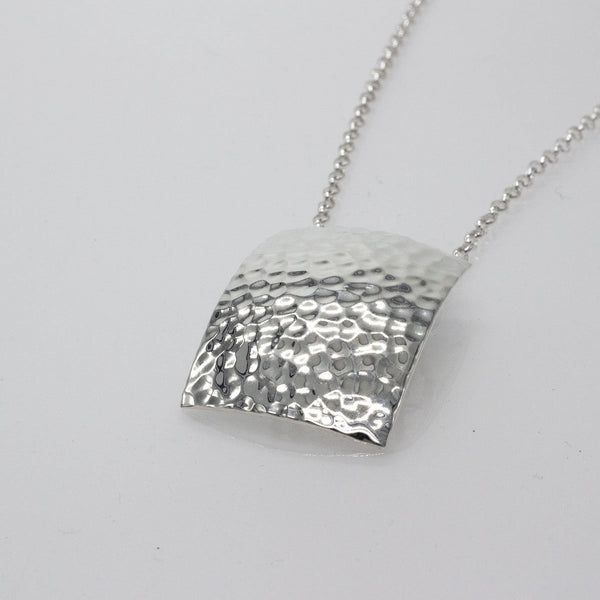 Large Convex Rectangle Silver Pendant | Hammered Sterling Silver | Sterling Silver Chain Included