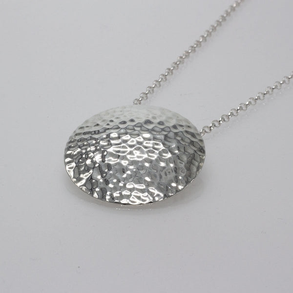 Large Convex Disc Silver Pendant | Hammered Sterling Silver | Sterling Silver Chain Included