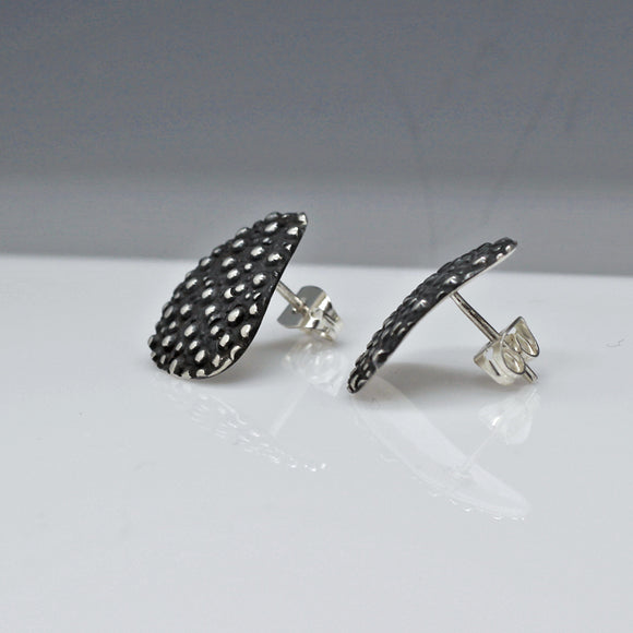 Daisy Petal Dotted Silver Earrings | Oxidized Sterling Silver | Jewelry | Silver | Wholesale | Sterling Silver | Jewelry | Silver | Wholesale Post Earrings
