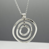 Rippled Multi Hoop Silver Jewelry Pendant | High-Polished Sterling Silver Jewelry | Sterling Silver Jewelry Chain Included