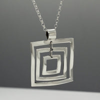 Rippled Multi Square Silver Pendant | High-Polished Sterling Silver | Sterling Silver Chain Included
