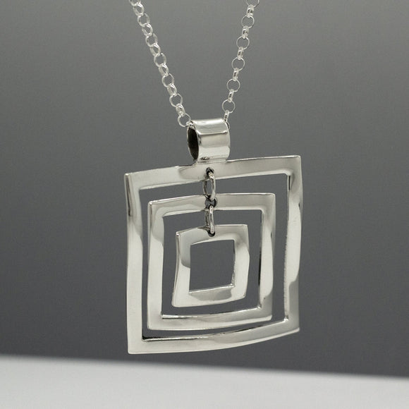Rippled Multi Square Silver Jewelry Pendant | High-Polished Sterling Silver Jewelry | Sterling Silver Jewelry Chain Included