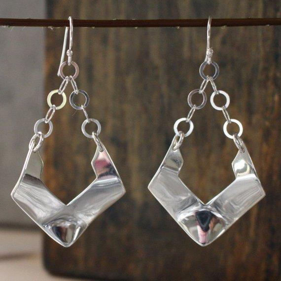 Greta Sterling Silver French Wire Earrings | High Polished Finish