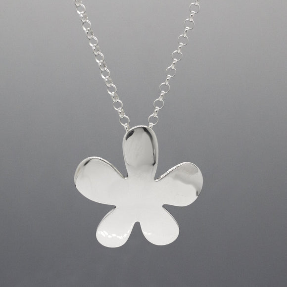 Signature Daisy Flower Silver Jewelry Pendant | High-Polished Sterling Silver Jewelry | Sterling Silver Jewelry Chain Included