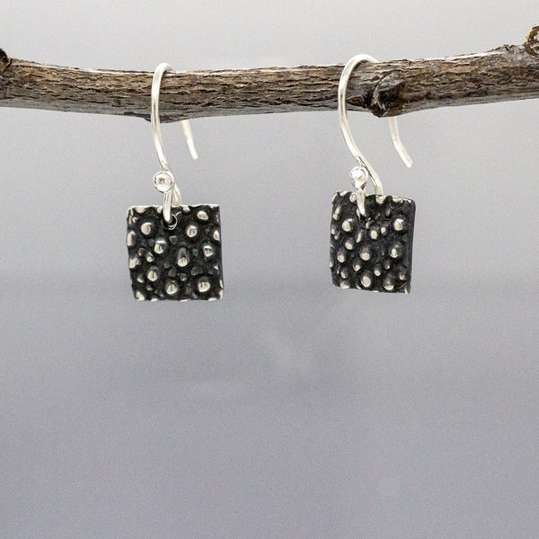 Small Convex Square Dotted Silver Earrings | Oxidized Silver Earrings | French Wire Silver Earrings