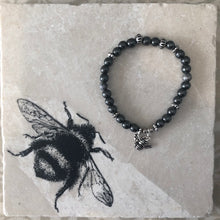 Load image into Gallery viewer, B Gifted hematite & Silver Bee Charm Bracelet