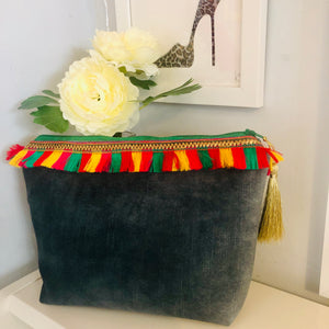 Charlotte Velvet Bag in Jade Grey