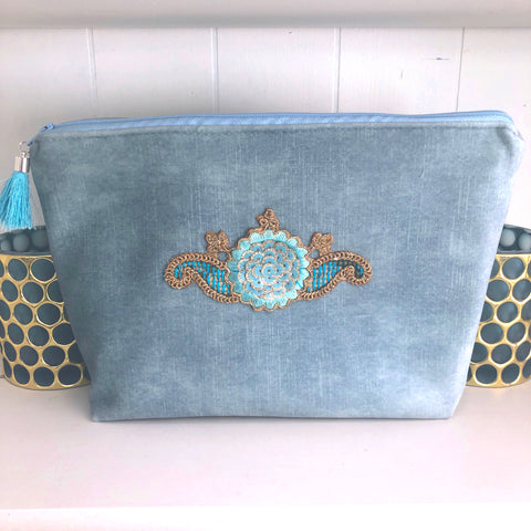 Darcy Velvet Bag in Powder Blue
