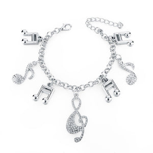 Music Notes Silver Charm Bracelet