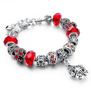 Red Crystal Beads Charm Bracelet