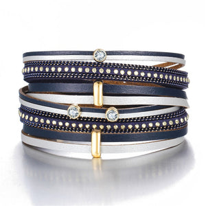 Navy Blue and Gold Crystal Bead Leather Bracelet