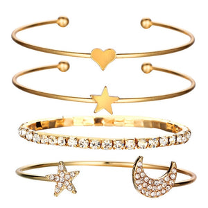 Star Moon Hearts Bangle Bracelet