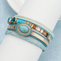 Blue Stone Leather Bracelet