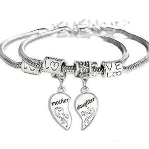 2pcs/set Matching Heart Charm Daughter Bangle Bracelets