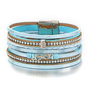 Light Blue Crystal Leather Bracelet