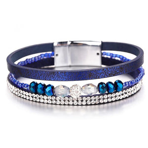 Crystal Bead Leather Bracelet