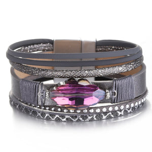 Purple Rhinestone Leather Multilayer Wrap Bracelet
