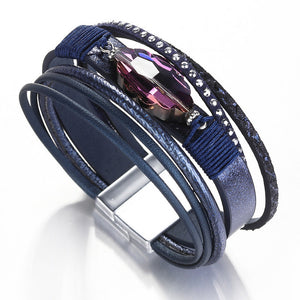 Purple Rhinestone Leather Bracelets Multilayer Wrap Bracelet