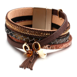 Handmade Brown Rhinestone MultiLayers Leather Bracelet