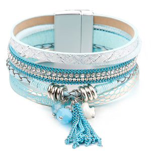 Blue Leather Crystal Multilayer Bracelet