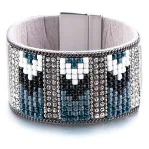 Blue Rhinestone Crystal Cuff Leather Bracelet