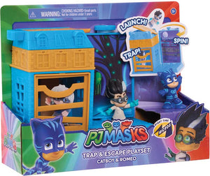 PJ MASKS NIGHTTIME MICROS TRAP & ESCAPE PLAYSET - CATBOY & ROMEO