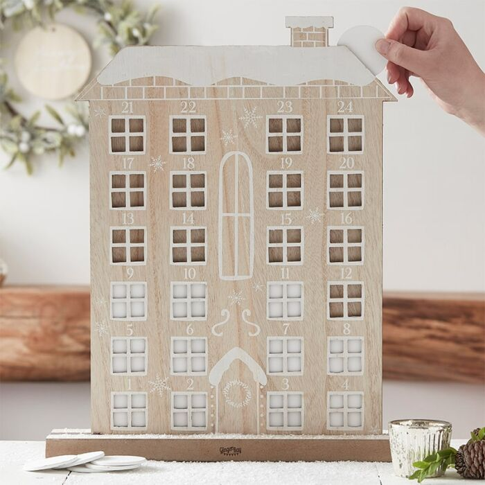 Ginger Ray Reuseable wooden house advent calendar