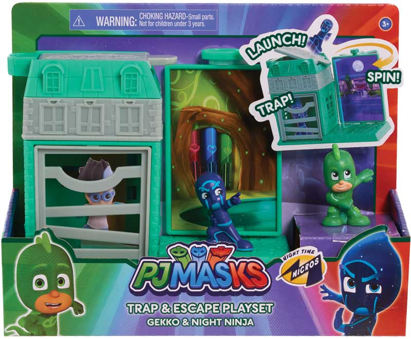 PJ MASKS NIGHTTIME MICROS TRAP & ESCAPE PLAYSET - GEKKO & NINJA
