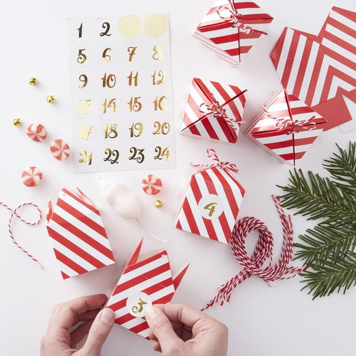 Ginger Ray Red & Gold Make Your Own Christmas Advent Box Kit